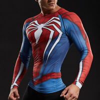 Mens Superhero Spiderman Costume Cosplay Compression Gym Workout Fitness T-shirt