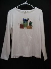 Christopher & Banks White Long Sleeve Cats and Presents Holiday Shirt Top Sz L