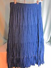 Denim & Co Long Royal  Blue Skirt Large with Silver Discs Trim above hem EPOC