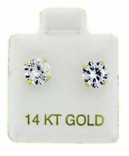 14K Solid Yellow Gold Round CZ Screw Back 6 mm Stud Earrings 1.50 Carat