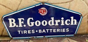 "Vintage ""B.F. Goodrich"" Tires Porcelain Enamel Sign 42"" x 18.5"""