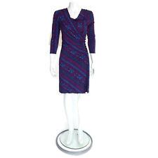 PLENTY TRACY REESE Purple Turquoise Blue Paisley Faux Wrap Boatneck Dress sz S