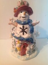 Popular 2001 Ceramic Snowman Tealight House with Original Box and Packing