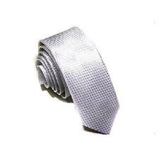 1 x mens skinny tie silver narrow silk wedding birthday shirt suit ladies new
