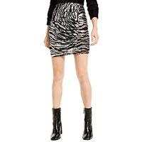 MSRP $70 Bar III Womens Ruched Animal Pattern Mini Skirt Black Size Small