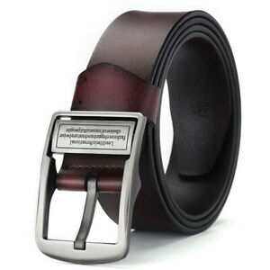 Genuine Leather Men Belt Classic Pin Buckle Men Dress Waistband Strap for Jeans