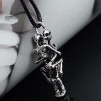Cool Men Infinity Tibet LOVE Stainless Steel Skull Pendant Chain COUPLE Necklace