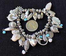 Silvertone Dangle Blue Beads Mother Pearls SEASHELL Charms Elastic Bracelet