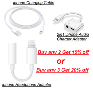 New Adapter For iPhone 6 7 8 X 11 2in1 Headphone Audio & Charger Splitter Cable