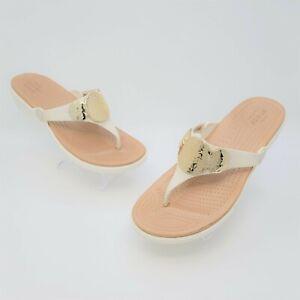 Crocs Dual Comfort Womens Embellished Wedge Thong Flip Flops Size US 9 204009
