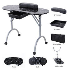 Foldable Manicure Nail Table Portable Stylist Station Desk Spa Beauty Salon