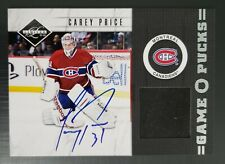 2010-11 Panini Limited Game Puck Signatures Non Patch Carey Price 10/20 RARE SSP