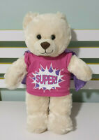 BUILD A BEAR  TEDDY BEAR BROWN EYES SUPER HERO SHIRT AND CAPE 40CM VANILLA COLOR