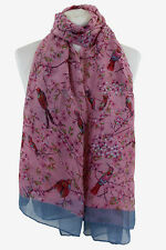Women Girl Pink Japanese Bird Print Scarf Shawl Sarong Wrap Free Fast Delivery**