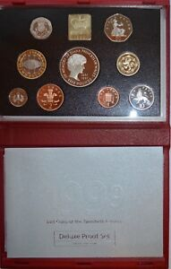 1999 Royal Mint Annual Proof Coin Set - Red Deluxe Folder with Certificate