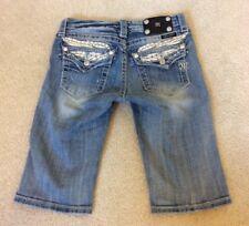 Miss Me Stretch Jean Bermuda Shorts With Flap Pockets Rhinestones JK5330M7 Sz 16