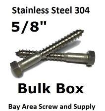 """(100) 5/8"""" x 5"""" Stainless Steel Lag Bolts Hex Lag Screws 304 18-8 Bulk Case Box"""