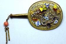 Vintage Chinese Silver, Coral and Turquoise Enamel Filigree Dragon Pin/Brooch