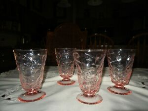 Vintage 1960's Lot of 4-Pastel Pink Crystal Textured Footed Stemware Glasses EUC