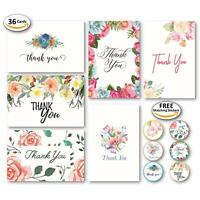 Blank Floral Thank You Cards with Envelopes and 48 Matching Stickers