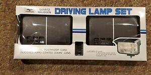 POWER Quartz Halogen Fog Light Driving Lamp Set w/ Plastic Covers Japan EES NOS