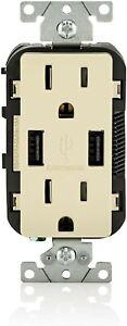 Leviton T5632-I USB Charger 15 Amp Tamper Resistant Duplex Outlet Ivory