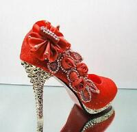 New Red beautiful Vogue lace Flowers Crystal High Heels Wedding Bridal Shoes