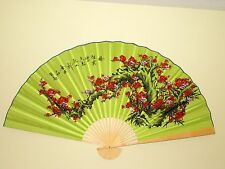 "NEW ORIENTAL BAMBOO LIME GREEN & WHITE CHERRY BLOSSOM FLOWERS WALL FAN 60"" X 35"""