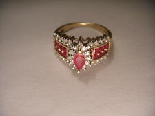 Gorgeous Estate 14K Yellow Gold Diamond Ruby Marquise Band Ring