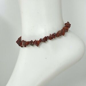 "Handmade Anklet Natural Red Jasper Chip Beads Gold Tone 9"" Long Ankle Bracelet"