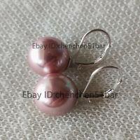 schöne 12mm Lavendel Muschel Perle 925 S Brisur Ohrringe