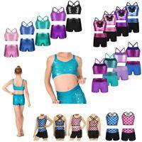 2-Piece Girls Sport Dance Outfit Crop Top with Shorts Gymnastics Leotard Costume