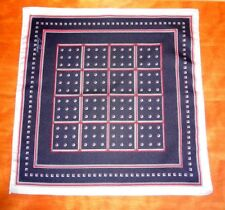 NWOT VTG Gino Pompeii Crisp Silk Blue w/Geometric Design Silk Pocket Square
