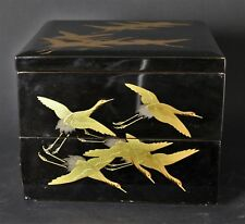 Antique Japanese Lacquered and Gilded Wooden Lunchbox Crane Decorations