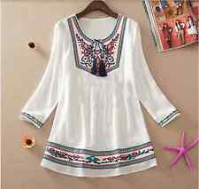 Embroidered Cotton Hippy Boho Tribal Indian Blouse Top Turkish 70's Ethnic Loose