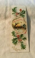 * Vintage Christmas Era Book Mark Bookmark Winter Scene Holly and Berry