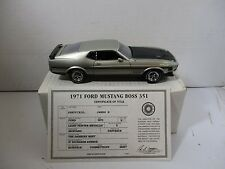 1/24 SCALE DANBURY MINT LIGHT PEWTER METALLIC 1971 FORD MUSTANG FASTBACK BOSS