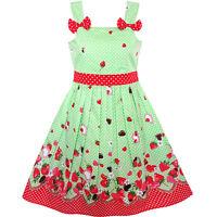 Girls Dress Cartoon Polka Dot Bow Tie Strawberry Sundress Age 2-8 Years