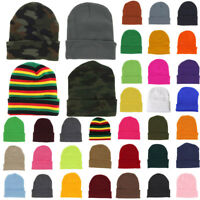 Cuff Plain Beanie Knit Ski Cap Slouchy Skull Hat Warm Solid Color Winter Blank