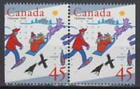 Canada #1627as 45¢ UNICEF and Christmas Pair from Booklet Mint Never Hinged - B