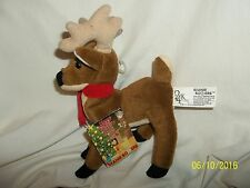 """24K Company Beanie Boppers Happy Holiday Reindeer Christmas Plush 8"""" With Tag"""