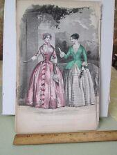 Vintage Print,2 LADIES,Pink+Green,Godeys,Fashion,1849