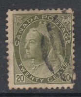 "Canada Scott #84  20 cent  olive green  ""QV Numeral""  F *"