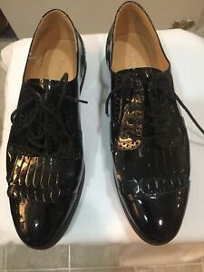 Enzo Angiolini Eafireballe Patent Leather Loafers Oxfords Shoes Black Size 91/2M