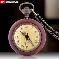 Big Glass Ball Eye Wooden Antique Pocket Watch Necklace Pendant Chain Quartz UK