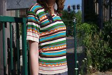 Damen Strick Shirt 70er Pulli kurzarm Gr. 38 bunt True VINTAGE 70s knitted shirt