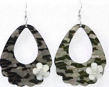 Mosaic pearlized dangle drop earrings lucite door knocker ovals black gray