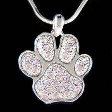 w Swarovski Crystal Purple Dog KITTY CAT Kitten Pawprint Paw Print  Necklace New