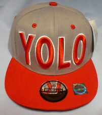 Snapback Hip Hop YOLO You Only Live Once Hat Gray and Red