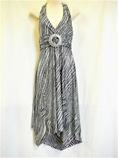 "HALTER TOP DRESS BLACK + SILVER ""FACE OFF"" SZ 10 ""NWT"" RRP $45 .C55"
